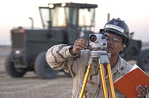 US Navy Surveyor at work with a leveling instr...